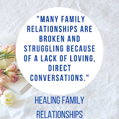 """text: """"Many family relationships are broken and struggling because of a lack of loving, direct conversations."""" Healing Family Relationships"""