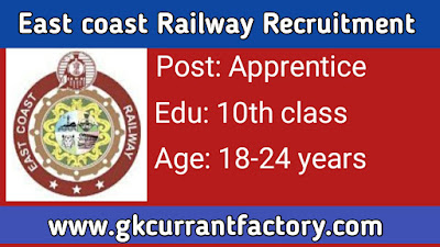 East coast Railway Apprentice Recruitment, East coast Railway Recruitment, East coast Railway Jobs