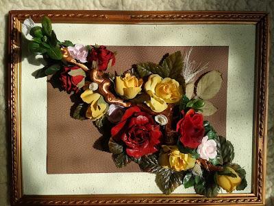 Obraz, sztuczne kwiaty