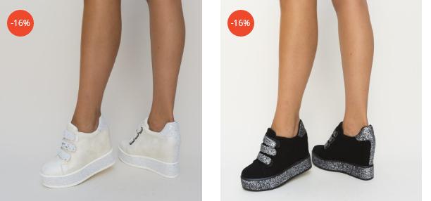 Adidasi cu platforma ascunsa negri, albi cu scai din piele eco intoarsa