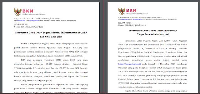 Pembukaan Pendaftaran CPNS Mulai Tanggal 11 November 2019