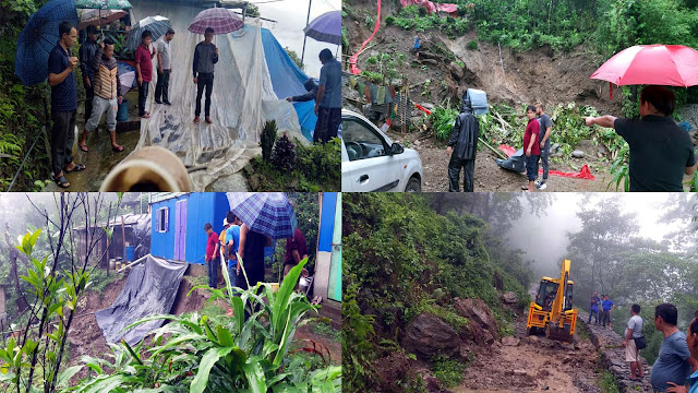 landslide hits House and road in Mungpoo