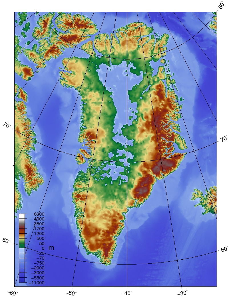 Topographic map of Greenland without its ice sheet