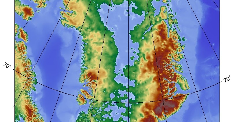 Topographic map of Greenland without its ice sheet - Ecoclimax