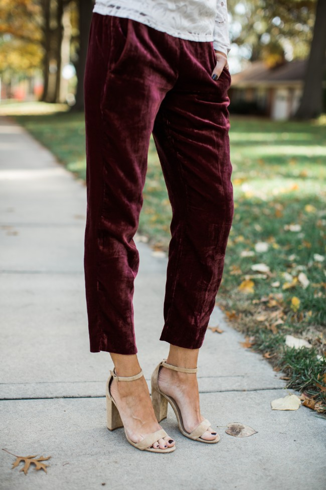 Wearing Velvet Pants for the Holidays - One Little Momma