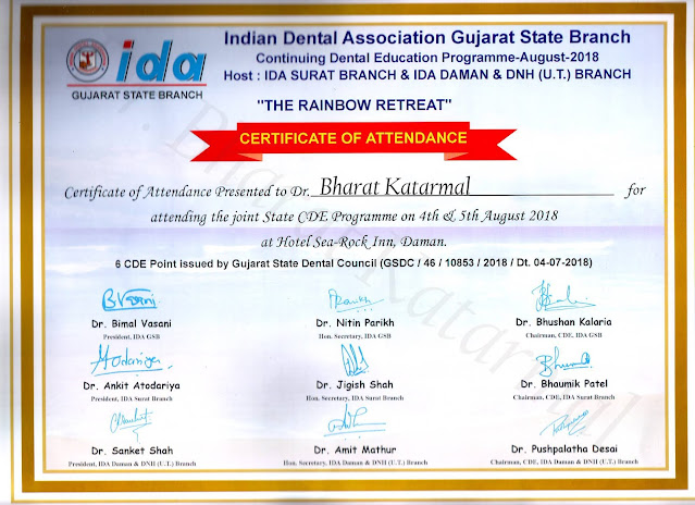 Certificate is awarded to Dr. Bharat Katarmal for attending conference at Daman Organised by IDA Surat and Daman Branch
