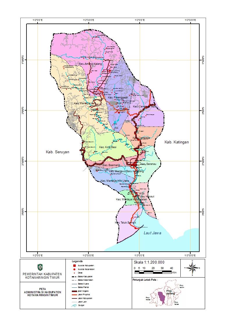 Peta Kabupaten Kotawaringin Timur
