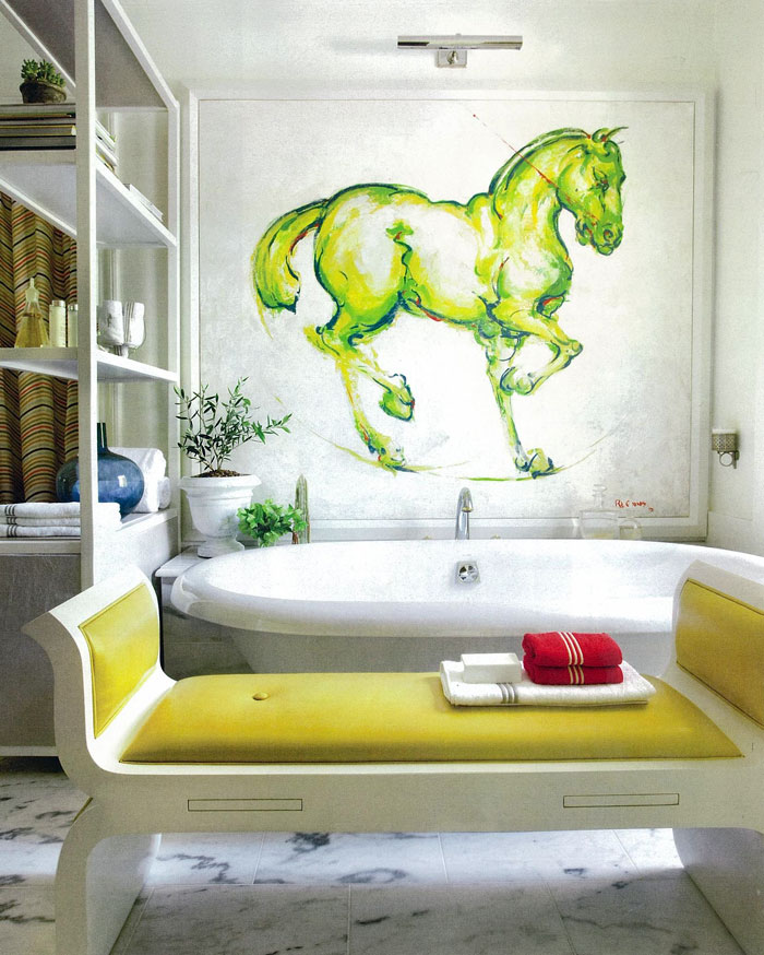 Yellow Bathroom Paint: To Da Loos: Gorgeous Yellow Bathroom With Great Art