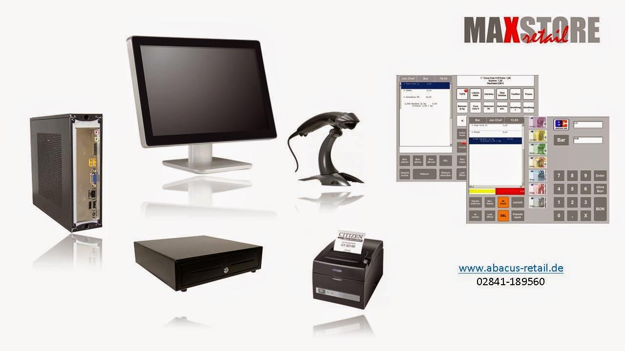 Kassensysteme Einzelhandel mit SAW Touchmonitor, Bondrucker, Scanner, Schublade, Maxstore Software