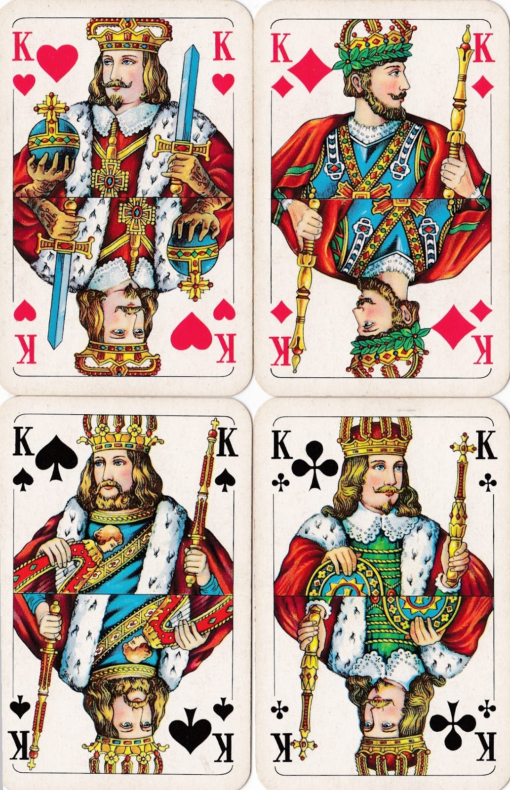Image result for Each king in a deck of playing cards represents a great king from history: Spades - King David /Hearts - Charlemagne /Clubs -Alexander The Great / Diamonds - Julius Caesar.