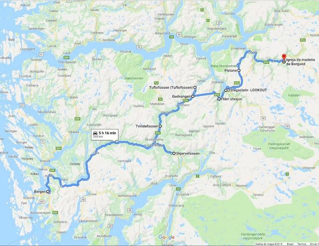 roteiro de Bergen a Borgund