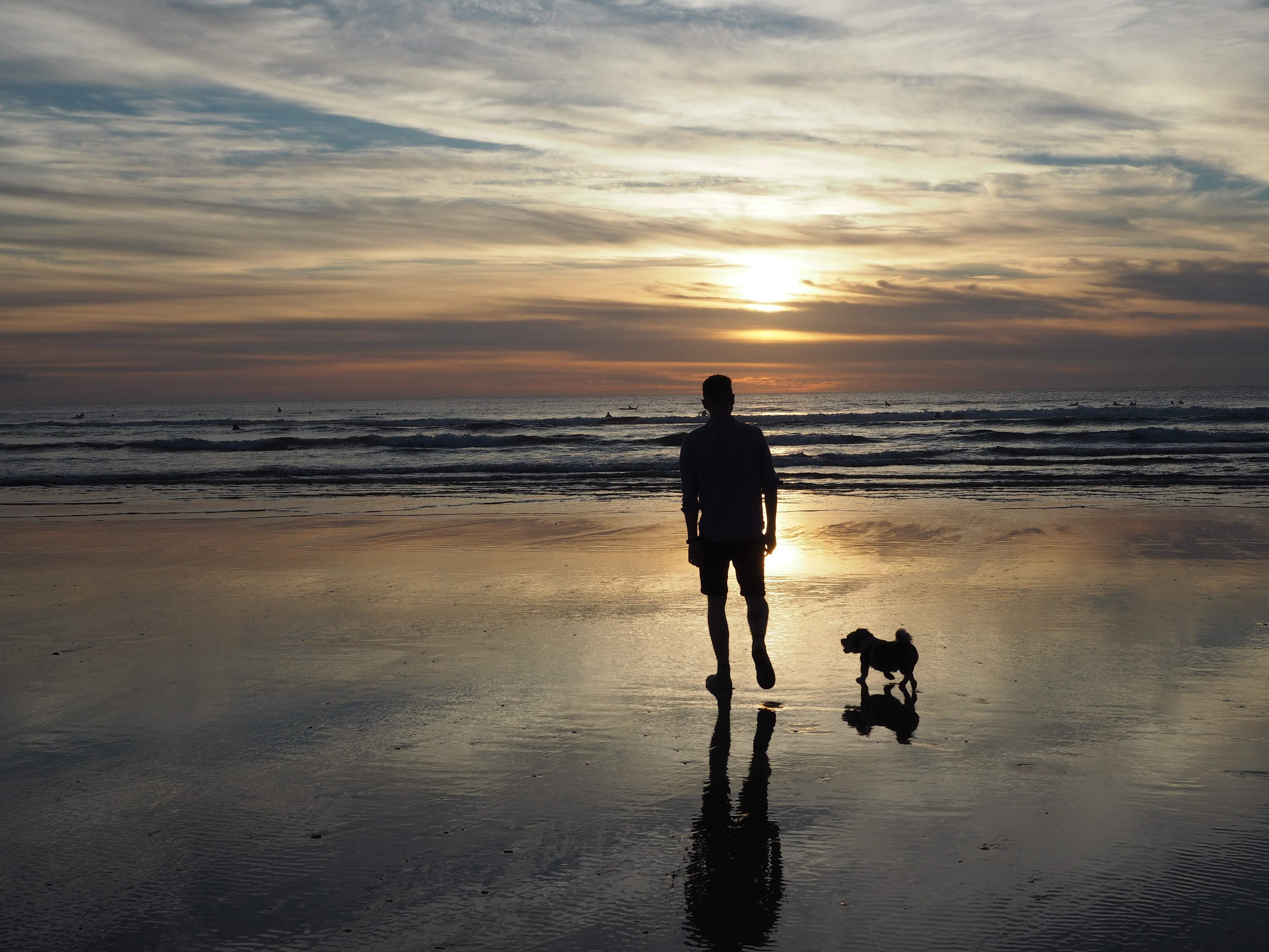 Sunset on Perranporth beach