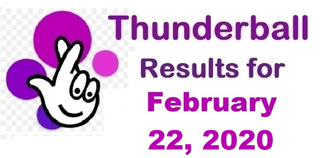 Thunderball Results for Saturday, February 22, 2020