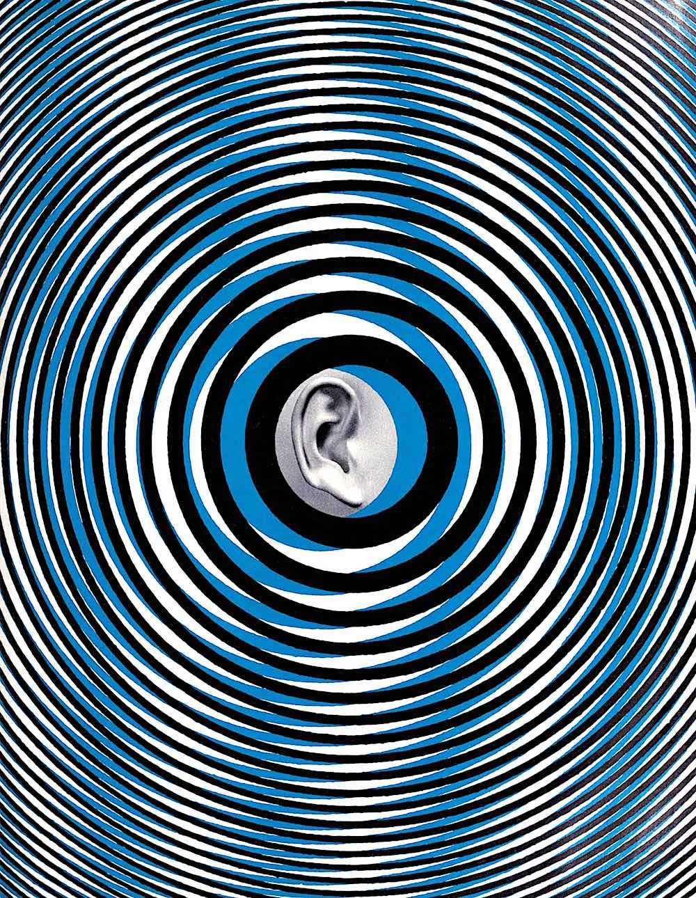 a 1968 sound graphic in blue and black with moire pattern sound rings and an ear