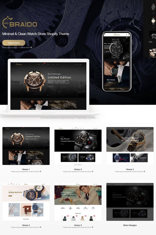 Minimal and Clean Watch Store Shopify Theme