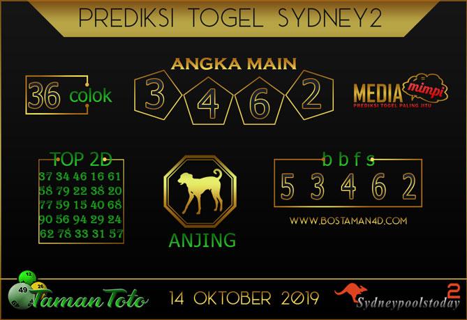 Prediksi Togel SYDNEY 2 TAMAN TOTO 14 OKTOBER 2019