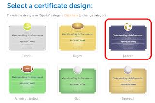 Selecione o Design do Certificado.
