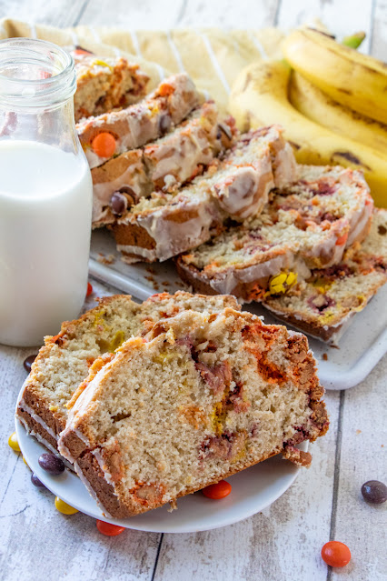 Reese's Pieces Peanut Butter Banana Bread slices on plate