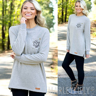grey pullover with monogram