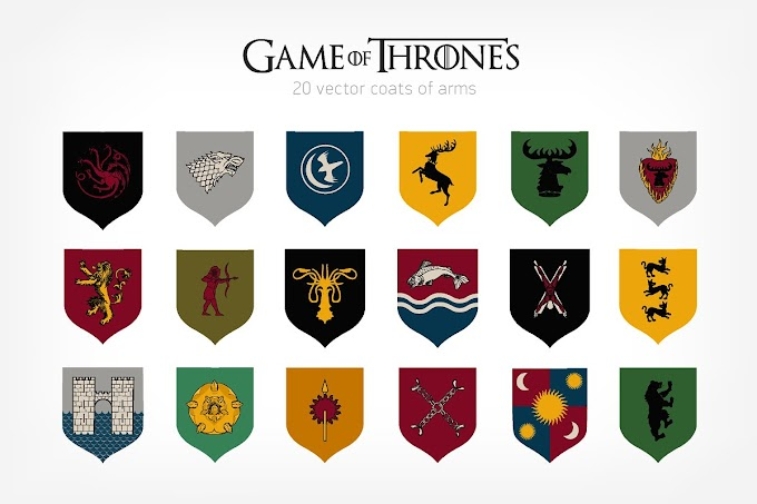 Colorful Vector Illustration of 20 Family Emblems or Crests From Game of Thrones