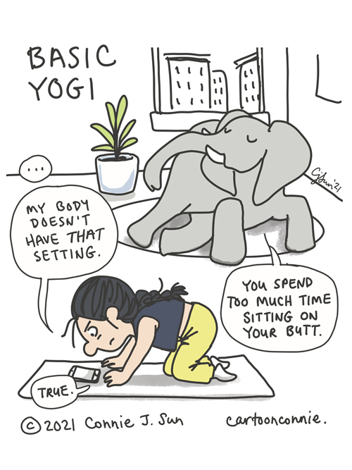 Sketchbook cartoon about trying to do yoga at home while out of shape, elephant comic strip, illustration by Connie Sun, cartoonconnie
