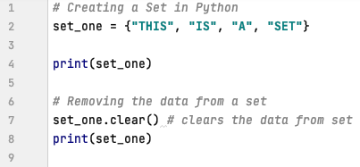 Clear data from a set in Python