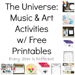 Astronomy music and art activities with free printables.