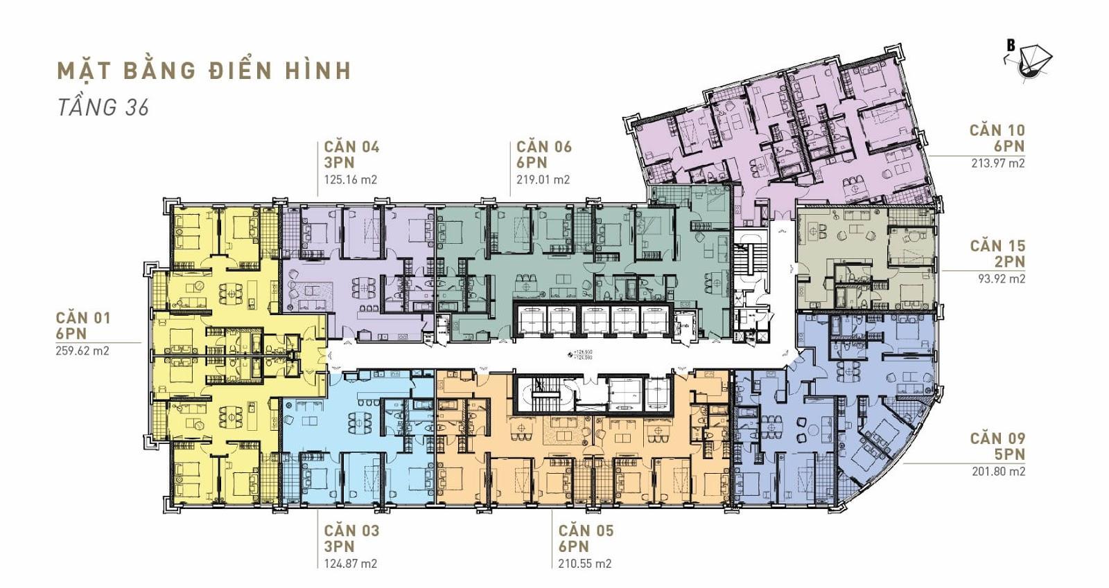 Mặt bằng điển hình Penthouse King Palace - Tầng 36