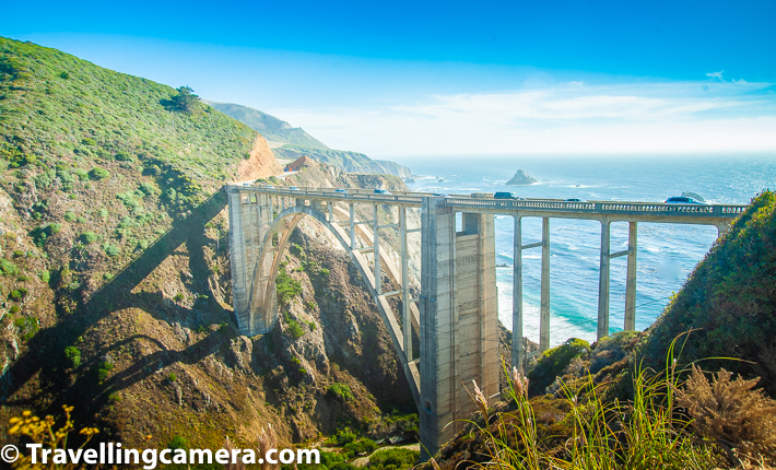 Bixby Creek Bridge is a reinforced concrete open-spandrel arch bridge, which is 120 miles south of San Francisco and 13 miles south of Carmel in Monterey County along State Route 1, which connected San Francisco with Los Angeles. Above photograph is clicked from one of the parking lots around  Bixby Creek Bridge. Most of the cars coming to Big Sur are parked here to enjoy wonderful views of this bridge and magnificent Pacific ocean.     Related Blogpost - Drive to Big Bur from San Francisco in California, USA