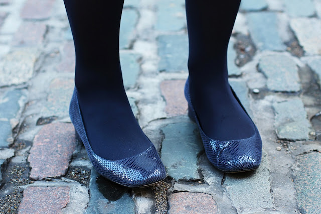 Navy leather Dune flats - London fashion blog