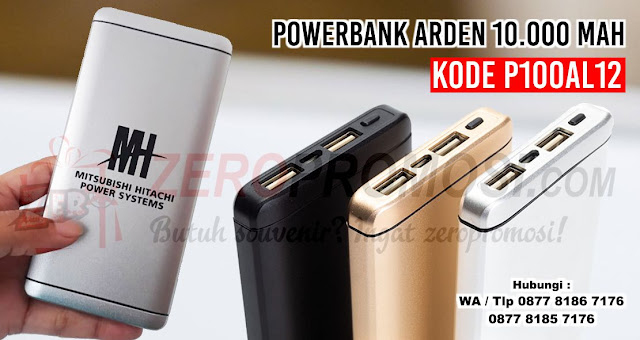 Powerbank Arden Metal 10.000mAh P100AL12, Souvenir Powerbank Arden Metal 10.000mAh P100AL12 (TITANIA), Souvenir Power Bank Custom logo