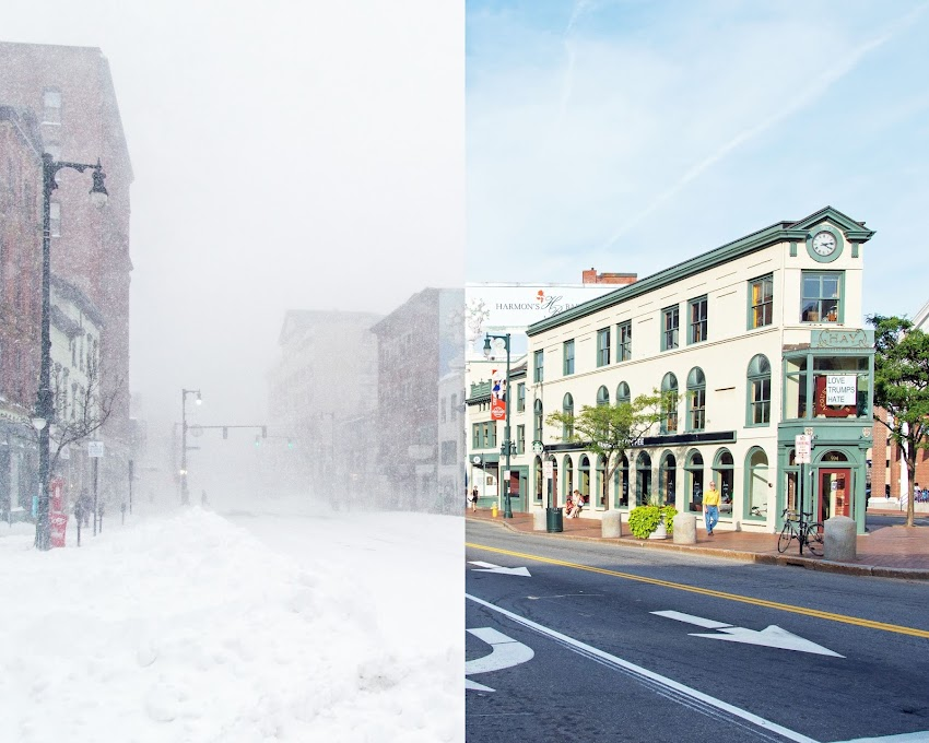 A mix of two photos, one from January 2015 (Winter Storm Nemo) and one from August 2016. Photo by Corey Templeton from Congress Square Park in Portland, Maine USA.