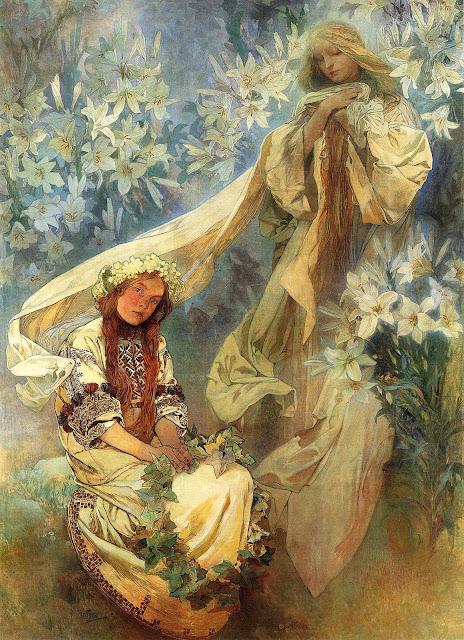 Альфонс Муха - Мадонна в лилиях. 1905