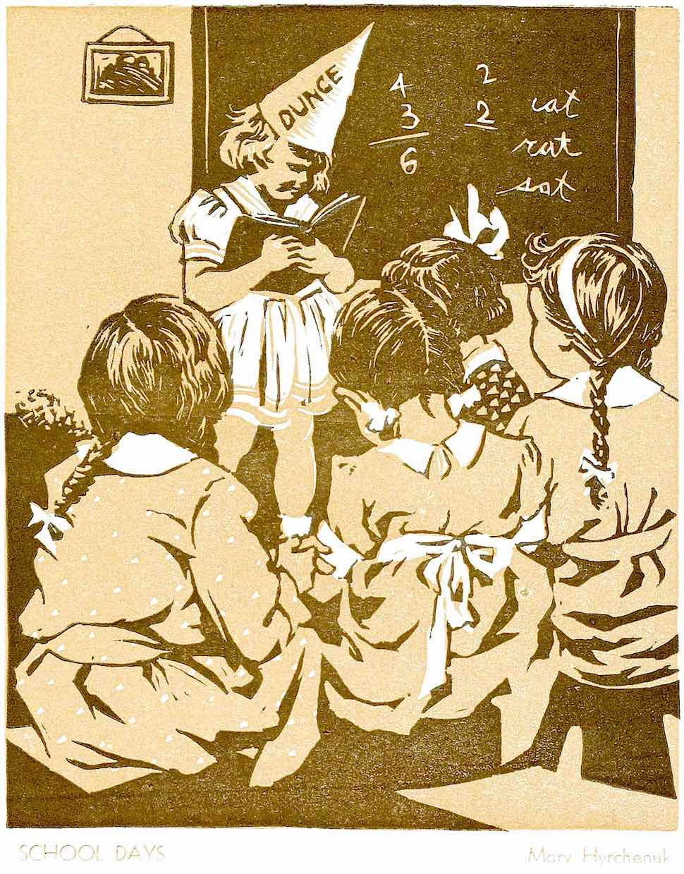 The dunce cap was worn by the least achieving student as humiliation, illustrated by Mary Hyrchenuk 1938