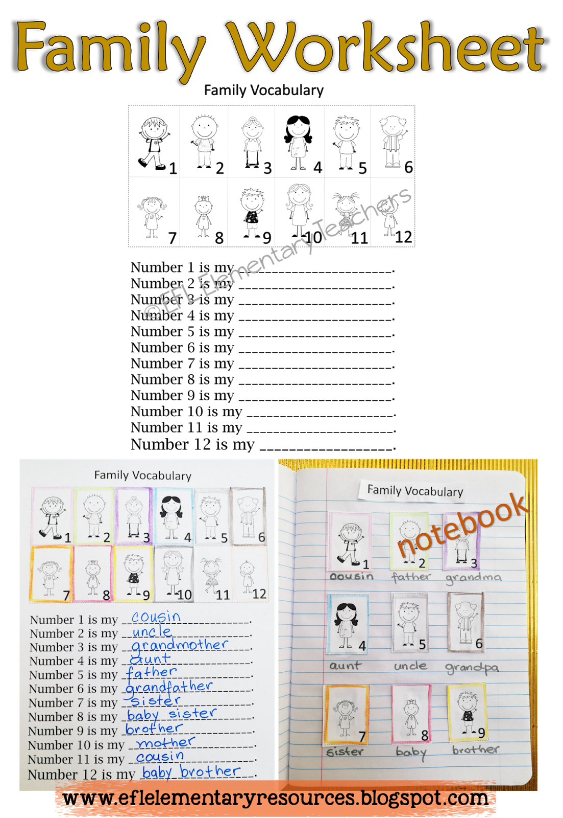 Efl Elementary Teachers Family Flashcards And Worksheets