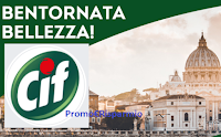 Logo Cif fa bella l'Italia e la tua casa : vinci 1000 kit di prodotti e weekend per 4 persone