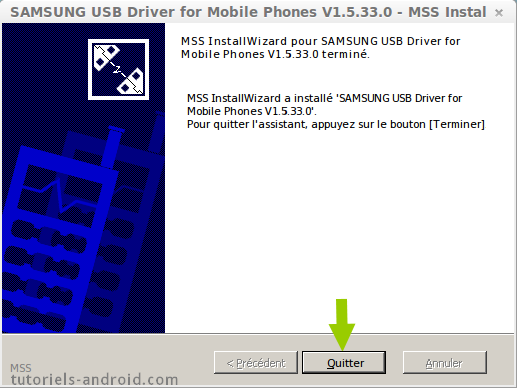 Samsung USB drivers installé