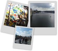 Polaroids du mur John Lennon et du Pont Charles (Karlův most) de Prague en République Tchèque