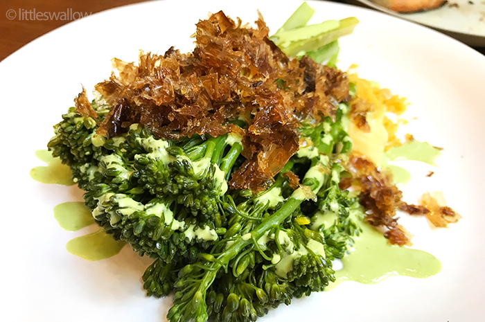 Kensington Street Social: Sprouting broccolini, egg yolk jam, smoked bread crumb, katsuobushi