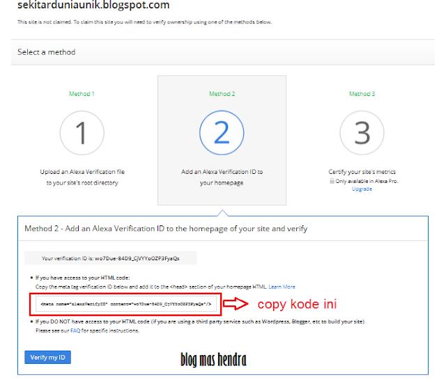 3 Metode Verifikasi Alexa Rank - Blog Mas Hendra