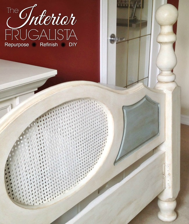 Newel Post Cane Headboard Painted White