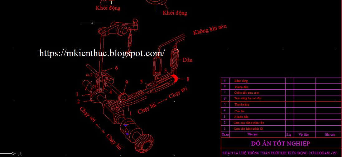 Bản vẽ khảo sát hệ thống phân phối khí trên động cơ SKODA6