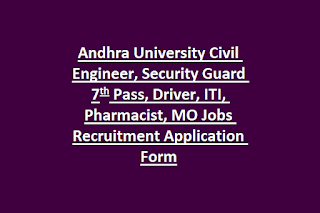 Andhra University Civil Engineer, Security Guard 7th Pass, Driver, ITI, Pharmacist, MO Jobs Recruitment Application Form