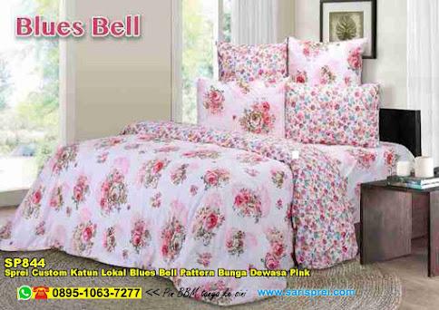 Sprei Custom Katun Lokal Blues Bell Pattern Bunga Dewasa Pink