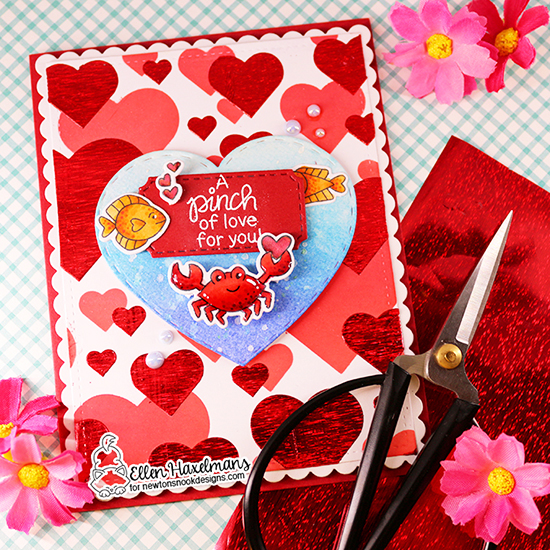 Pinch of Love Crab Valentine Card by Ellen Haxelmans | Tides of Love Stamp Set, Bokeh Hearts Stencil Set and Darling Hearts Die Set by Newton's Nook Designs #newtonsnook #handmade