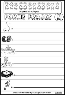 Formar frases com desenhos, letra N