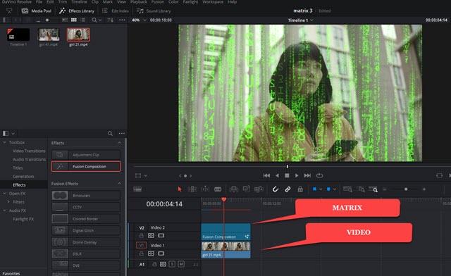 effetto matrix su video