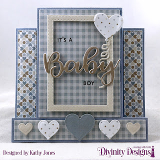 Divinity Designs Stamp/Die Duo: Bless This Baby, Paper Collection - Baby Boy, Custom Dies: Center Step Card, Center Step Layers, Layering Hearts, Double Stitched Rectangles, Balloons and Streamers