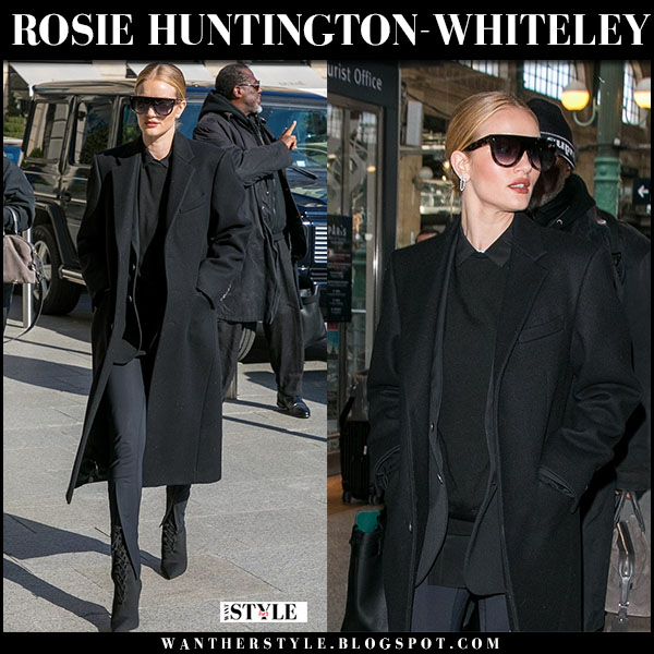 Rosie Huntington-Whiteley in black wardrobe nyc coat, black leggings and black boots yeezy paris fashion week february 26 outfit
