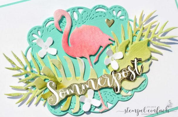 karte mit flamingo